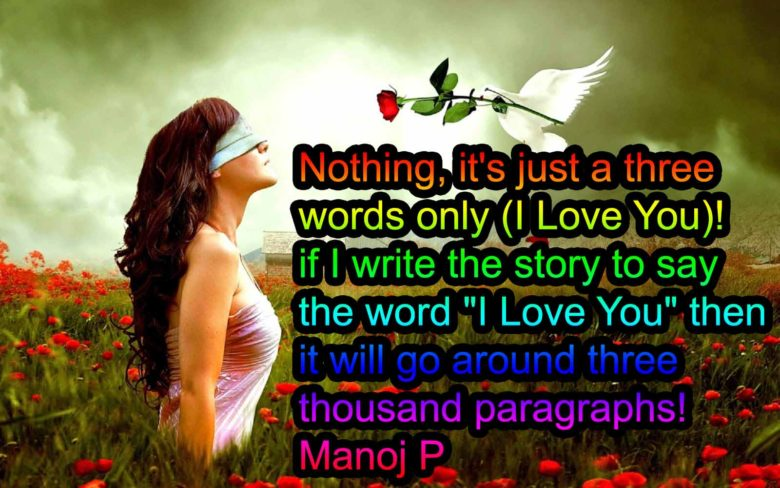 Love you is a word it writes lot of story